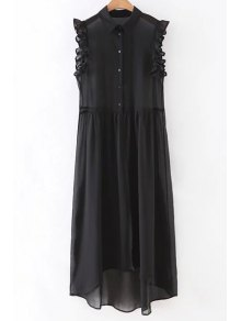 Black Sleeveless See-Through Shirt Dress