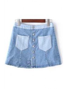 Denim Pockets Floral Embroidery Skirt - Light Blue