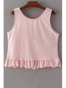 Ruffles Spliced Round Collar Tank Top - Pink