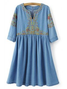 Embroidery Notched Neck 3/4 Sleeve Dress