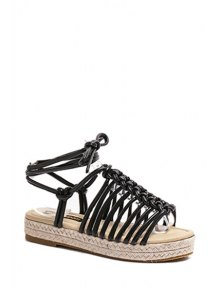 Solid Color Weaving Lace-Up Sandals