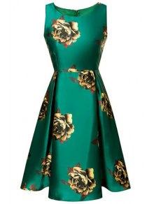Large Floral Print A-Line Dress