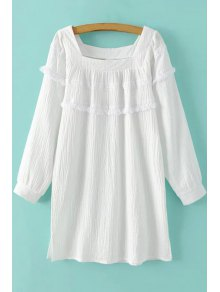 White Fringe Square Neck Long Sleeve Dress