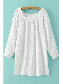 White Fringe Square Neck Long Sleeve Dress