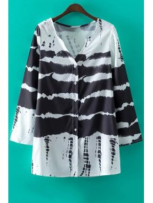 Black V-Neck Long Sleeve Print Dress - White And Black S