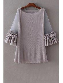 Pleated Ruffled Mesh Splice 3/4 Sleeve Dress