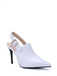 Buy Slingback Pointed Toe Stiletto Heel Pumps 34 WHITE