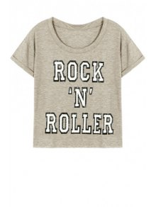 Letter Pattern Short Sleeve Round Neck T-Shirt