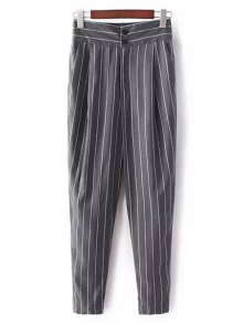 Striped High-Waisted Chino Pants - Gray S