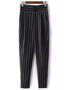 Pantalones A Rayas De Talle Alto En Chino - Negro