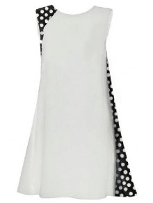 Polka Dot Splicing Round Collar Sleeveless Dress