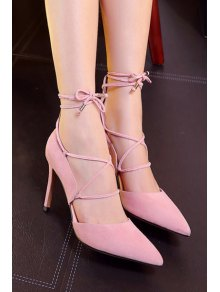 Solid Color Lace-Up Stiletto Heel Pumps PINK: Pumps | ZAFUL