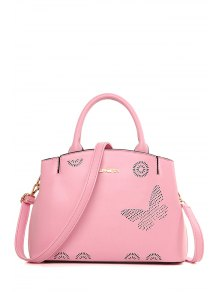 Buy Letter Hollow Solid Color Tote Bag - PINK