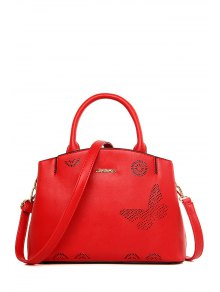 Buy Letter Hollow Solid Color Tote Bag - RED