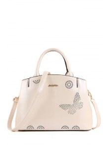 Buy Letter Hollow Solid Color Tote Bag - WHITE