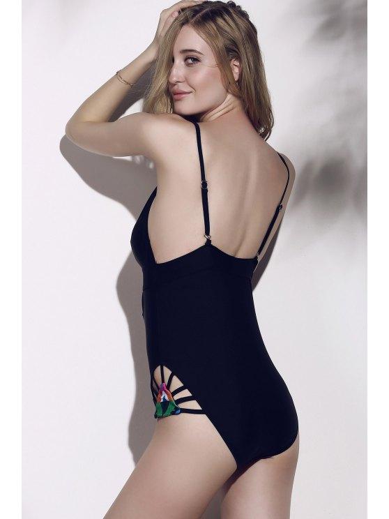 Printed High Cut One-Piece Swimwear - BLACK S Mobile