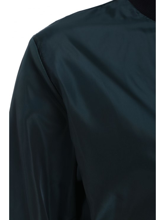 Solid Color Stand Collar Long Sleeve Zipper Jacket - BLACKISH GREEN M Mobile