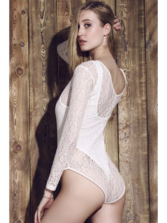 Lace See-Through Long Sleeve Bathing Suit - WHITE S Mobile
