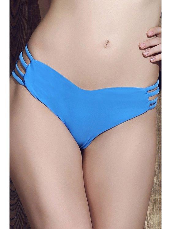 women Solid Color Heart Pattern Bikini Briefs - BLUE S