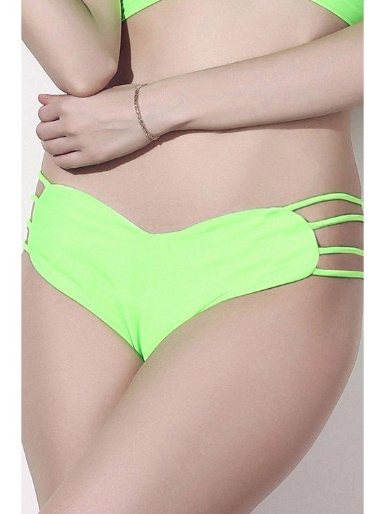Solid Color Heart Pattern Bikini Briefs - GREEN S Mobile