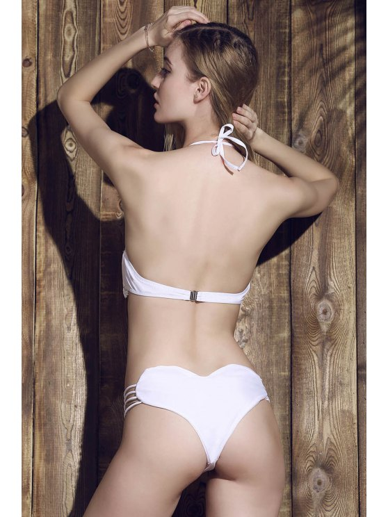 Solid Color Heart Pattern Bikini Briefs - WHITE XL Mobile