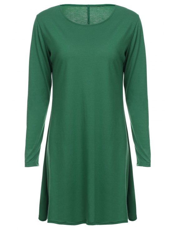 shops Loose Fitting Round Neck Solid Color Casual Dress - GREEN M