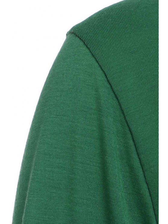 Loose Fitting Round Neck Solid Color Casual Dress - GREEN M Mobile