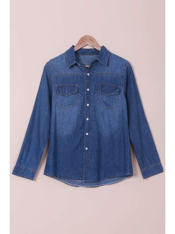women's Denim Turn Down Collar Long Sleeves Shirt - BLUE L