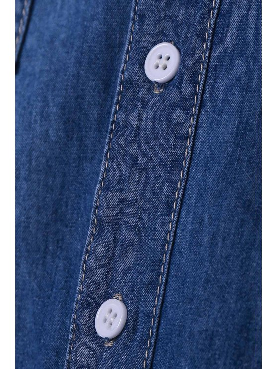 Denim Turn Down Collar Long Sleeves Shirt - BLUE M Mobile