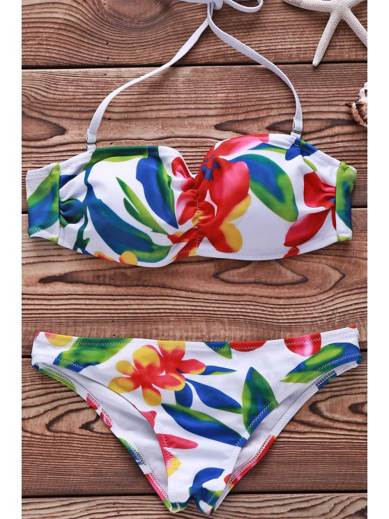 Flower Print Spaghetti Straps Bikini Set For Women - Blanco M