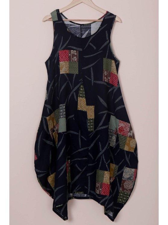 women's Loose Floral Print Round Neck Sleeveless Dress - BLUE M