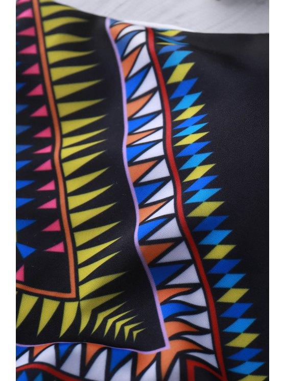 High Neck Tribal Cut Out Bikini Set - BLACK M Mobile