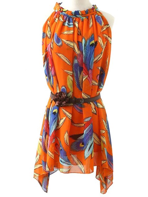 hot Feather Print Chiffon Dress With Belt - ORANGE M Mobile