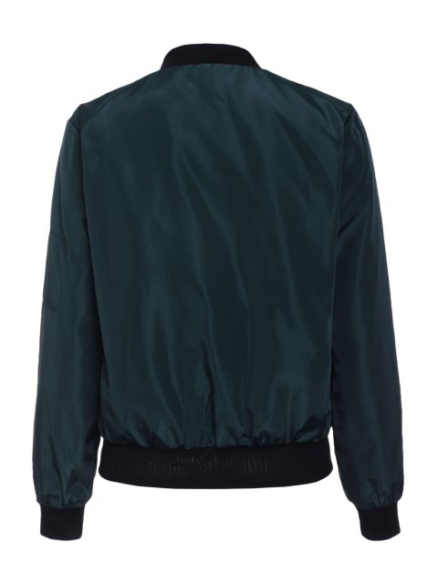 shops Solid Color Stand Collar Long Sleeve Zipper Jacket - BLACKISH GREEN S Mobile