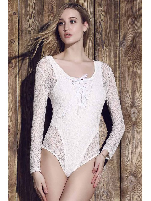 ladies Lace See-Through Long Sleeve Bathing Suit - WHITE M Mobile