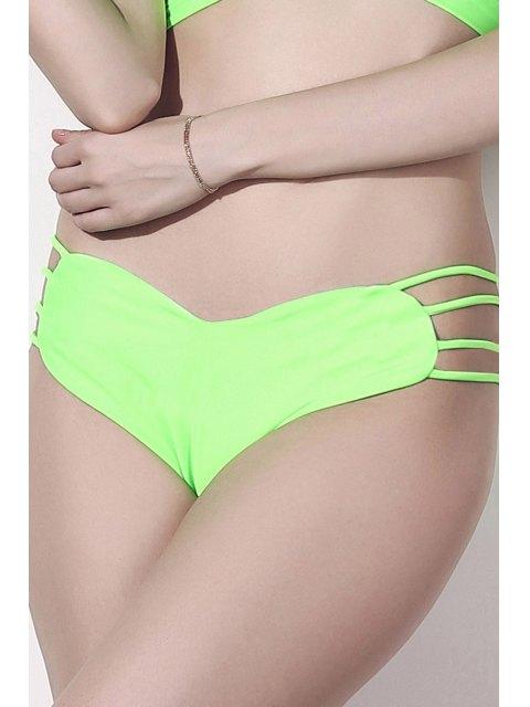 best Solid Color Heart Pattern Bikini Briefs - GREEN S Mobile