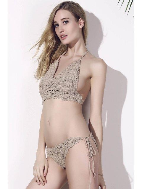 hot Khaki Halter Crochet Swimsuit -   Mobile