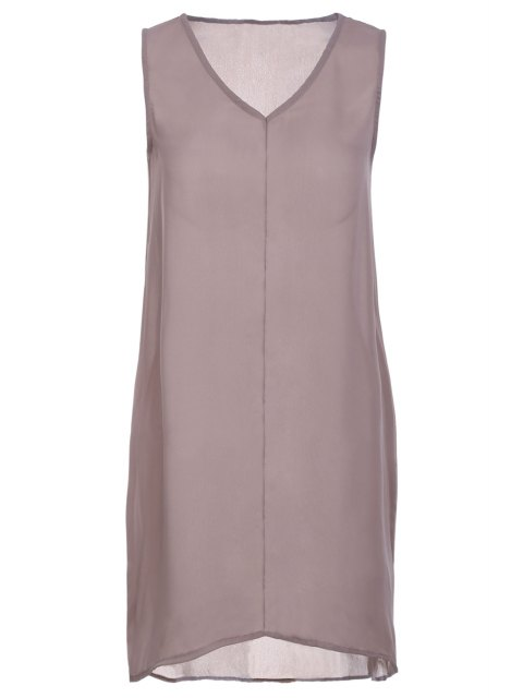 online Pure Color V Neck Sleeveless Dress - COFFEE S Mobile