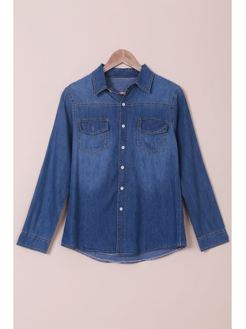 womens Denim Turn Down Collar Long Sleeves Shirt - BLUE S Mobile