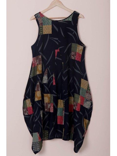 best Loose Floral Print Round Neck Sleeveless Dress - BLUE 2XL Mobile