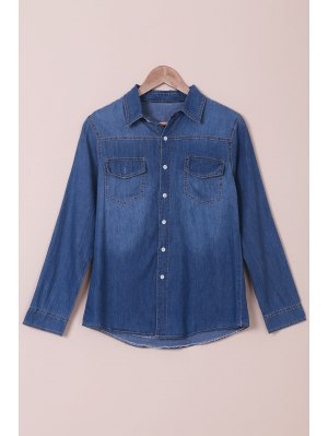 Denim Turn Down Manga Larga De Cuello Camisa - Azul