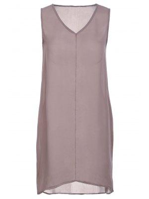 Pure Color V Neck Sleeveless Dress - Coffee L