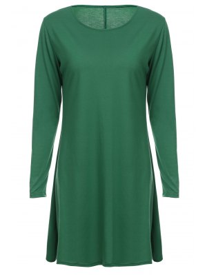Loose Fitting Round Neck Solid Color Casual Dress - Green