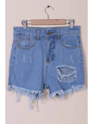 Solid Color Broken Hole High-Waist Denim Shorts - Light Blue