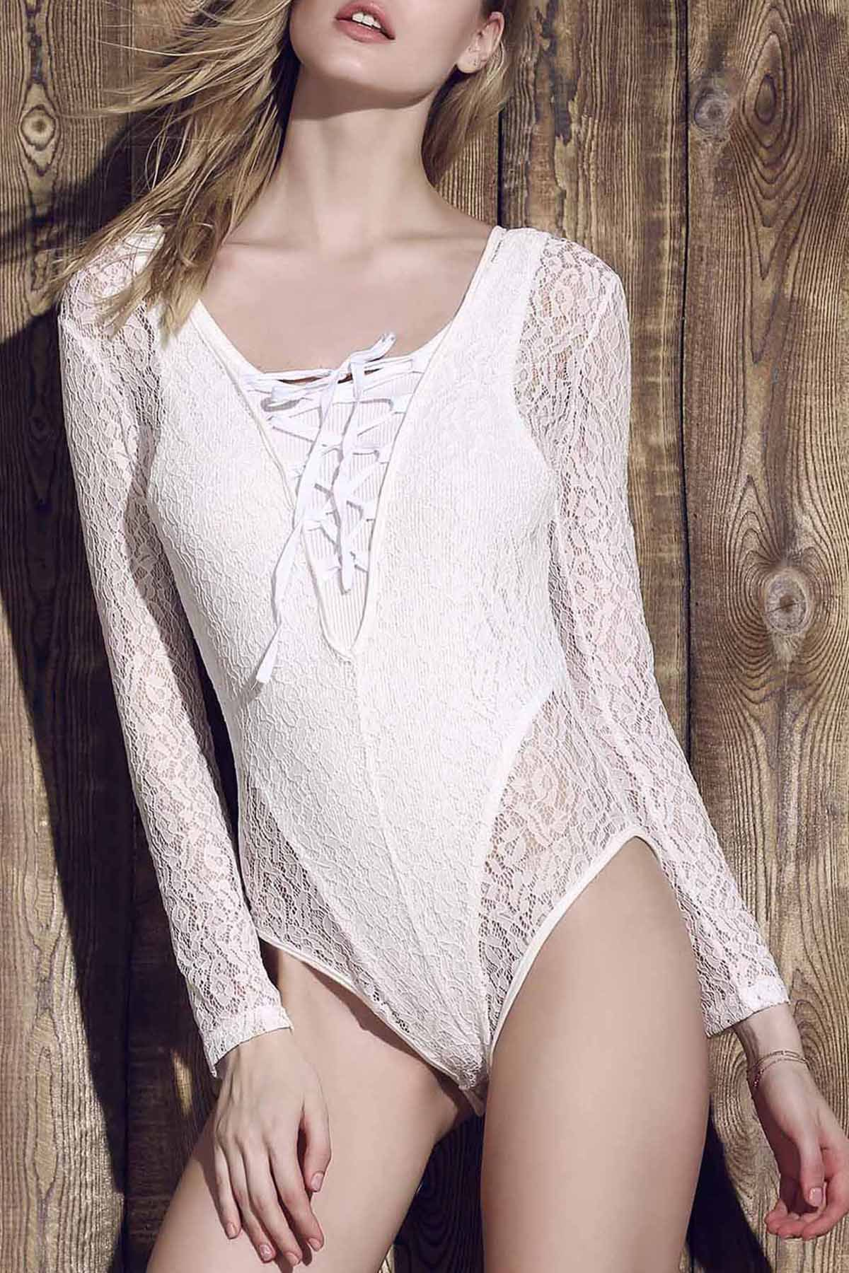 Plunging Neck Long Sleeve Lace See-Through One-Piece Swimwear