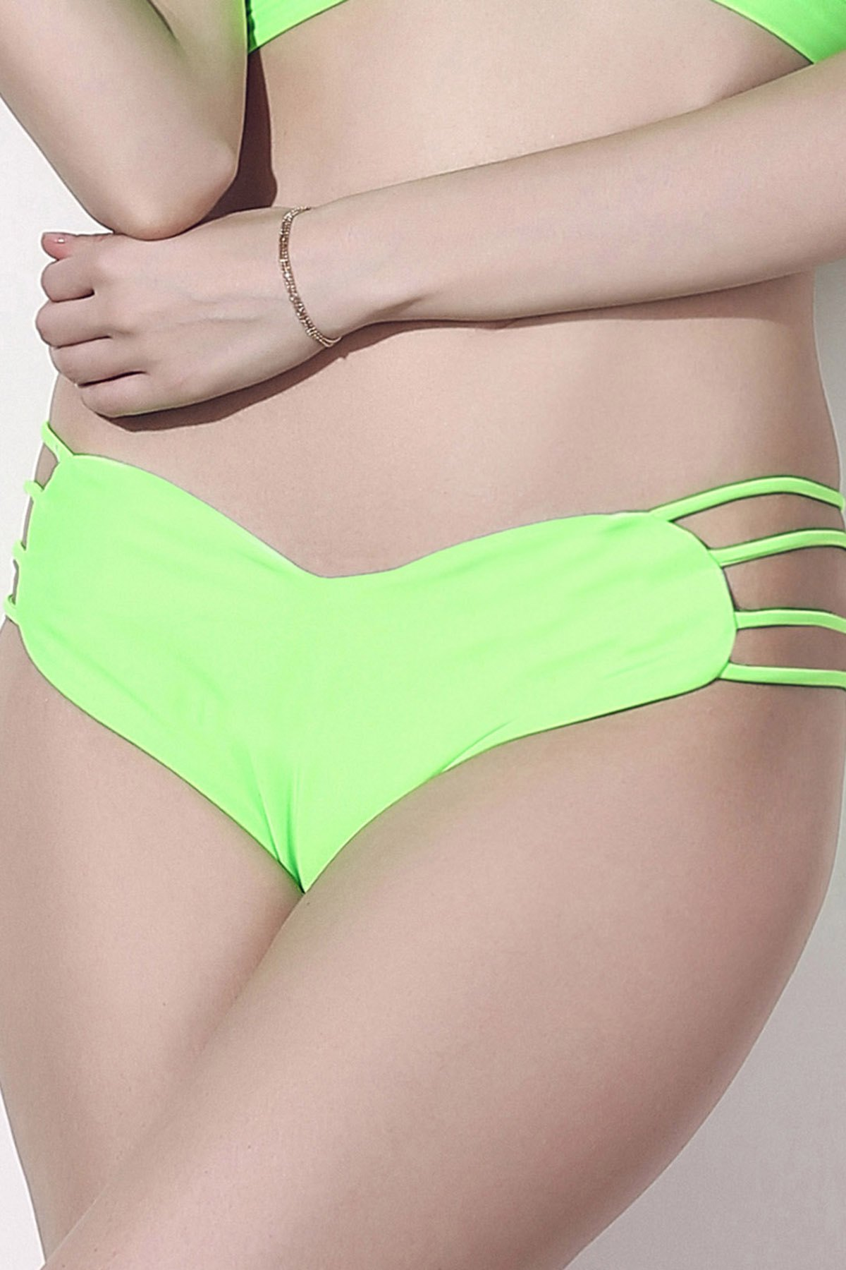 Solid Color Heart Pattern Bikini Briefs