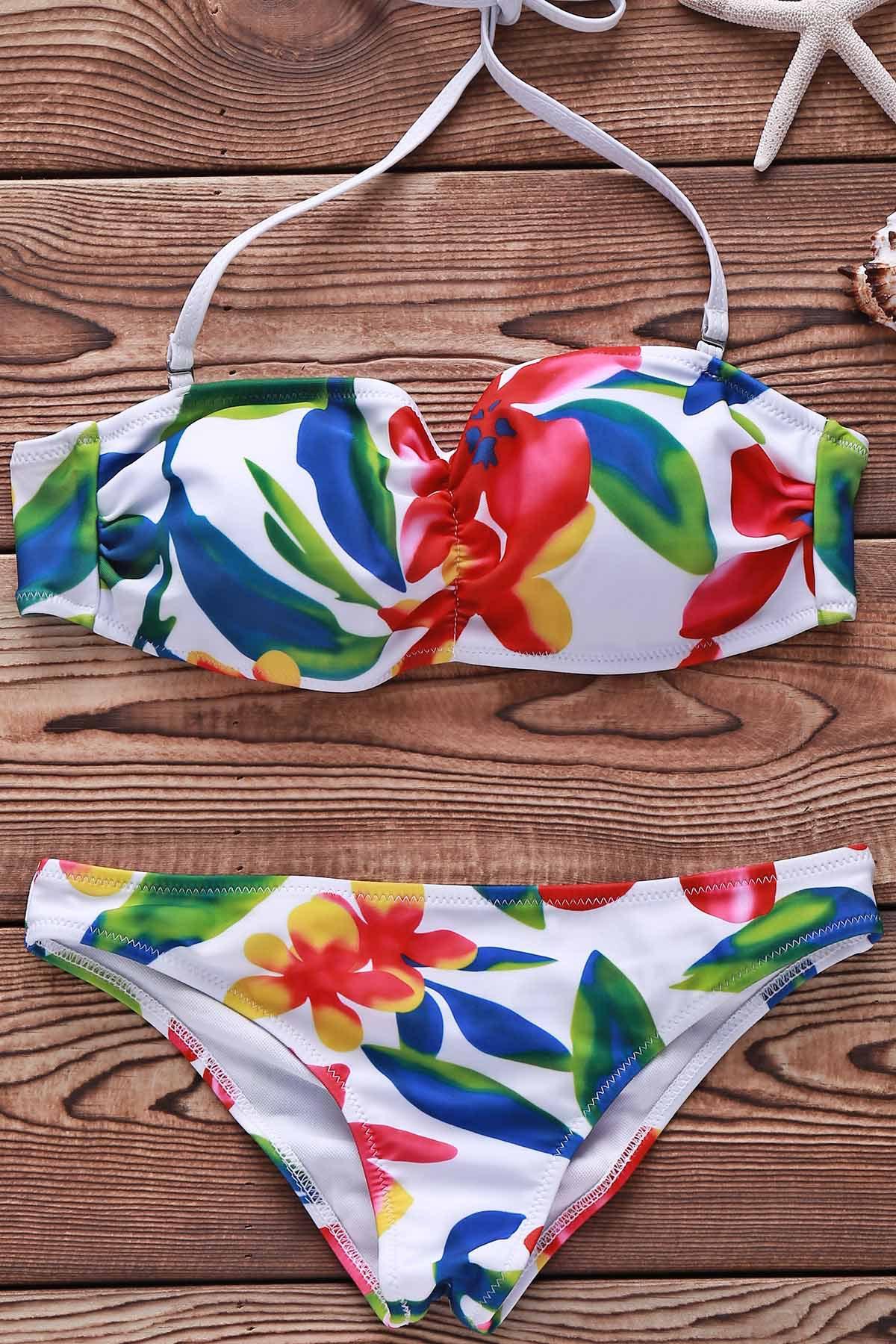 Spaghetti Straps Flower Print Bikini Set