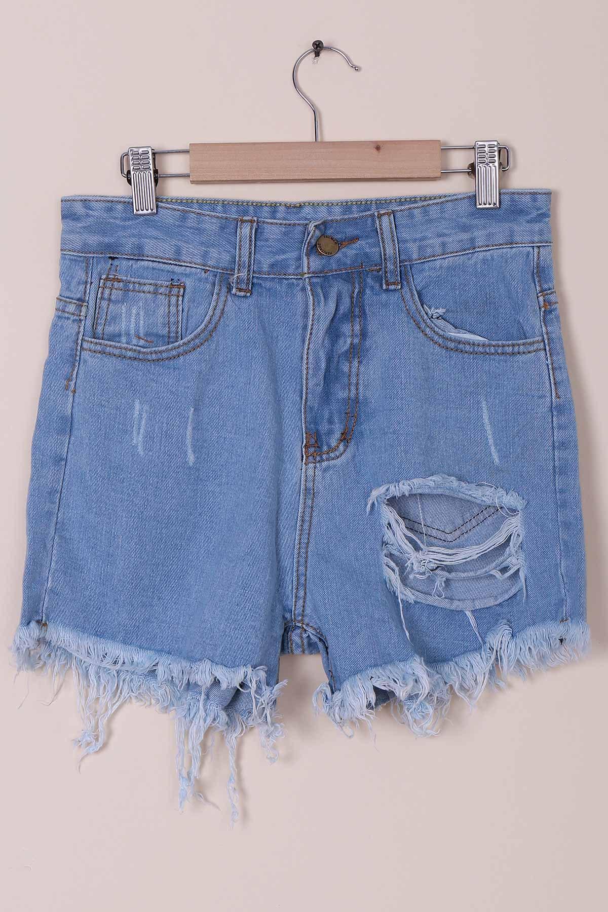 High-Waist Solid Color Broken Hole Denim Shorts