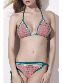 Lace-Up Color Block Handwork Knitted Bikini Set
