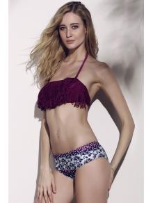 Tassels Spliced Floral Print Bikini Set - PURPLE S